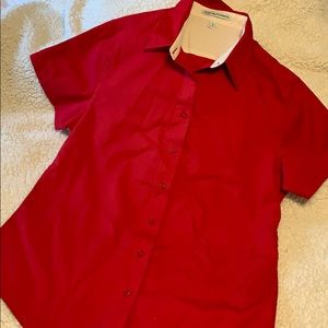 Port Authority red short sleeve button down